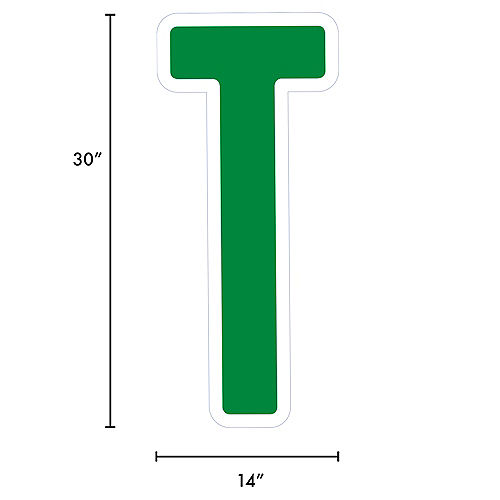 Giant Festive Green Corrugated Plastic Letter (T) Yard Sign, 30in Image #2