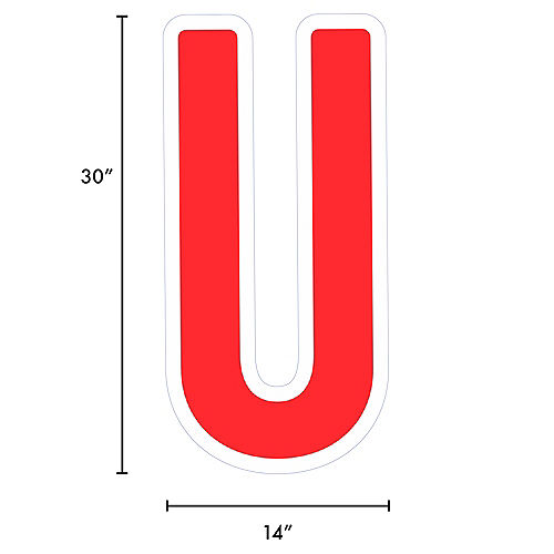 Giant Red Corrugated Plastic Letter (U) Yard Sign, 30in Image #2