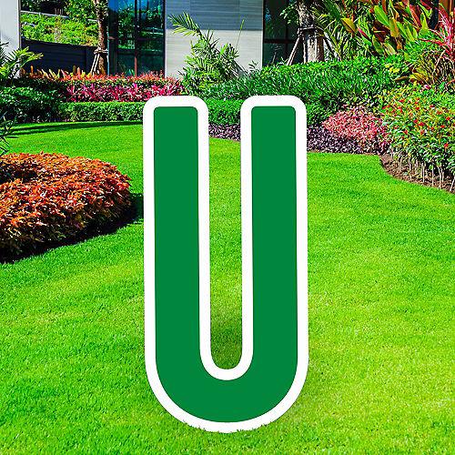 Giant Festive Green Corrugated Plastic Letter (U) Yard Sign, 30in Image #1