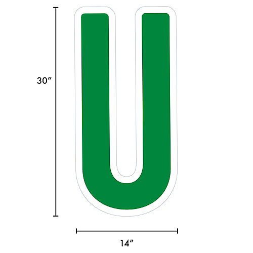 Giant Festive Green Corrugated Plastic Letter (U) Yard Sign, 30in Image #2