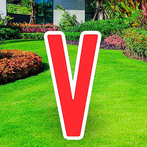 Giant Red Corrugated Plastic Letter (V) Yard Sign, 30in Image #1