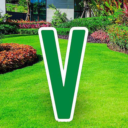 Giant Festive Green Corrugated Plastic Letter (V) Yard Sign, 30in Image #1