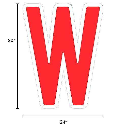 Giant Red Corrugated Plastic Letter (W) Yard Sign, 30in Image #2