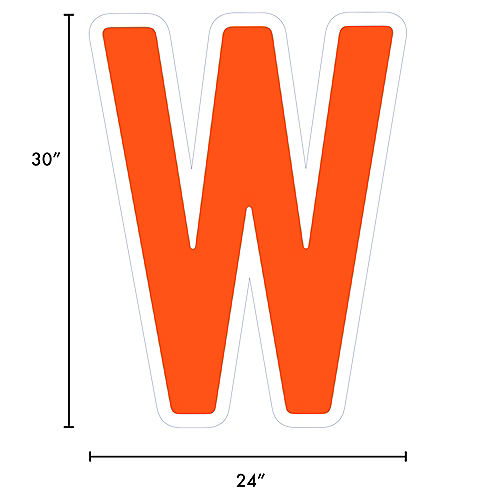 Giant Orange Corrugated Plastic Letter (W) Yard Sign, 30in Image #2