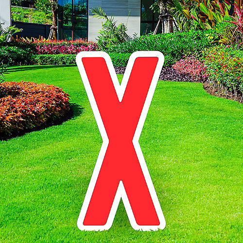 Giant Red Corrugated Plastic Letter (X) Yard Sign, 30in Image #1