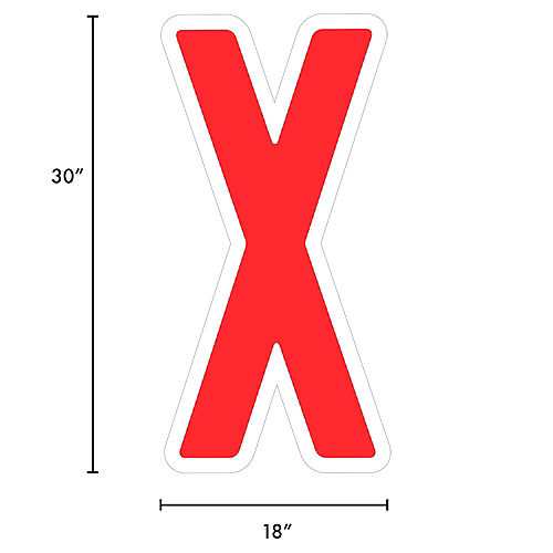 Giant Red Corrugated Plastic Letter (X) Yard Sign, 30in Image #2