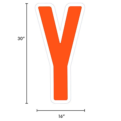Giant Orange Corrugated Plastic Letter (Y) Yard Sign, 30in Image #2