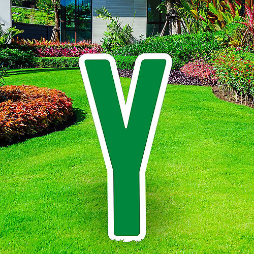 Giant Festive Green Corrugated Plastic Letter (Y) Yard Sign, 30in Image #1