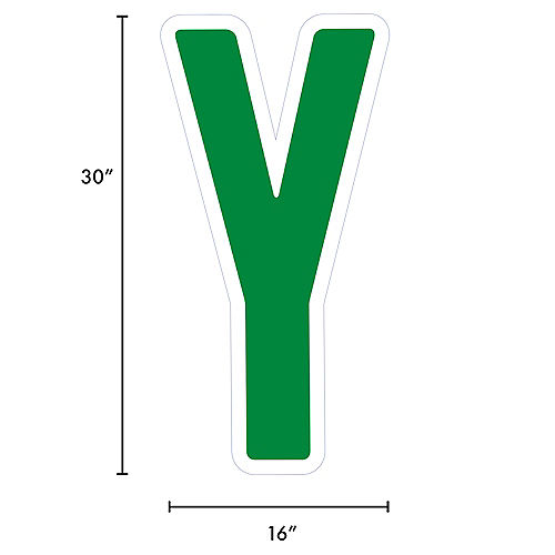 Giant Festive Green Corrugated Plastic Letter (Y) Yard Sign, 30in Image #2