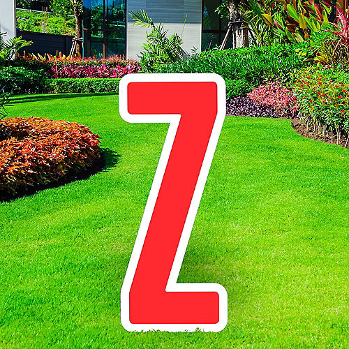 Giant Red Corrugated Plastic Letter (Z) Yard Sign, 30in Image #1