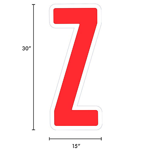 Giant Red Corrugated Plastic Letter (Z) Yard Sign, 30in Image #2