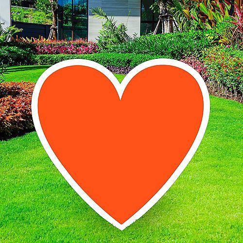 Giant Orange Corrugated Plastic Heart Yard Sign, 26in Image #1