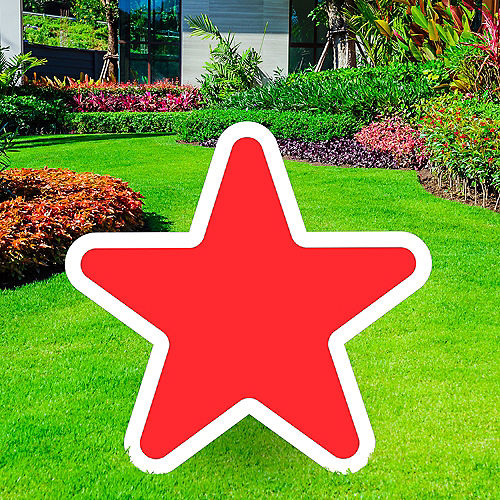 Giant Red Corrugated Plastic Star Yard Sign, 30in Image #1