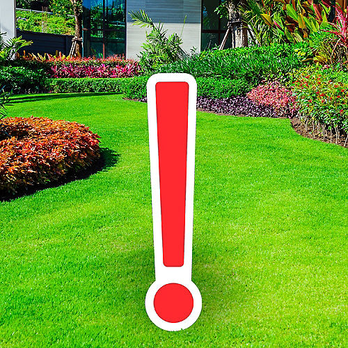 Giant Red Corrugated Plastic Exclamation Point Yard Sign, 30in Image #1