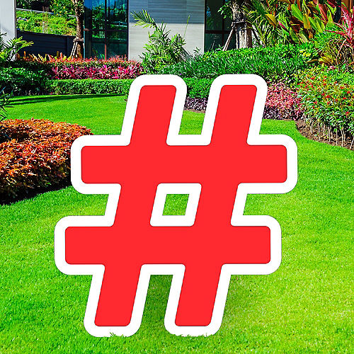 Giant Red Corrugated Plastic Hashtag Yard Sign, 24in Image #1