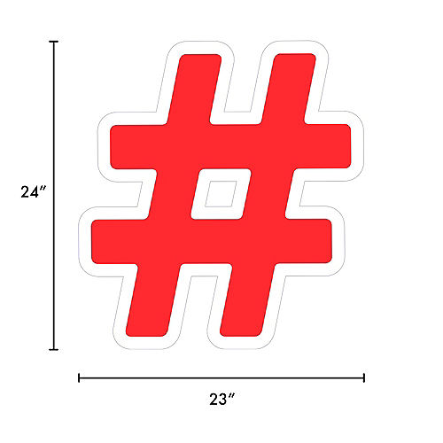 Giant Red Corrugated Plastic Hashtag Yard Sign, 24in Image #2