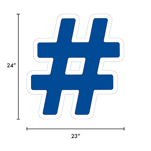 Giant Royal Blue Corrugated Plastic Hashtag Yard Sign, 24in Image #2