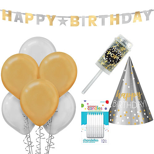 Gold & Silver Birthday Party Kit Image #1