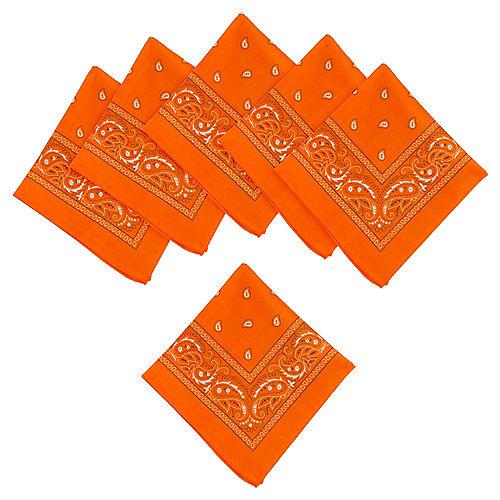 Orange Paisley Bandanas, 20in x 20in, 10ct Image #1
