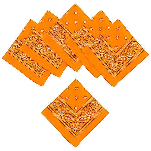 Neon Orange Paisley Bandanas, 20in x 20in, 10ct Image #1