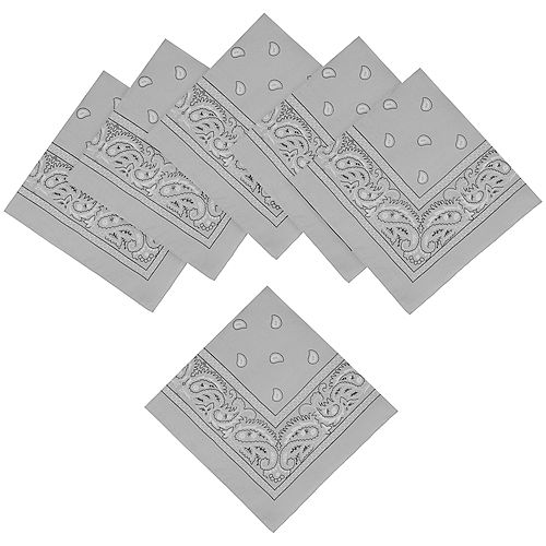 Silver Paisley Bandanas, 20in x 20in, 10ct Image #1