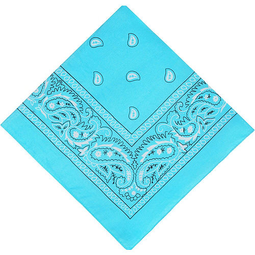 Turquoise Paisley Bandanas, 20in x 20in, 10ct Image #2