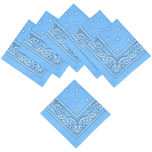 Light Blue Paisley Bandanas, 20in x 20in, 10ct Image #1