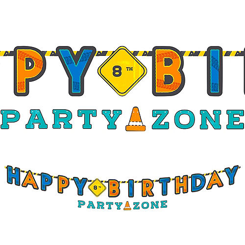 Customizable Construction Party Birthday Letter Banner with Accent Banner Image #1