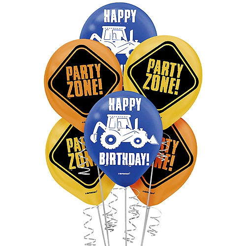 Construction Party Latex Balloons, 12in, 6ct Image #1