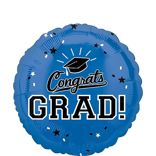 Blue Congrats Grad Balloon Bouquet, 18in, 12pc with Helium Tank Image #3
