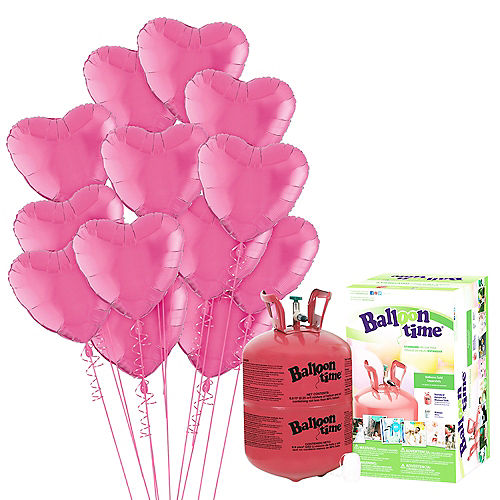 Abundant Love Bright Pink Heart Balloon Bouquet, 17in, 12pc with Helium Tank Image #1