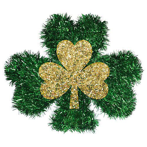 3D Lucky St. Patrick's Day Tinsel Shamrock Image #1