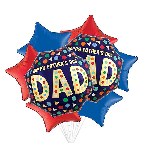 Multicolor Shapes Father's Day Balloon Bouquet, 8pc Image #1