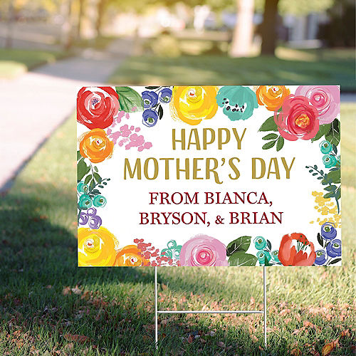Custom Painted Floral Mother's Day Yard Sign Image #1