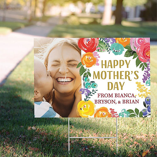 Custom Painted Floral Mother's Day Photo Yard Sign Image #1