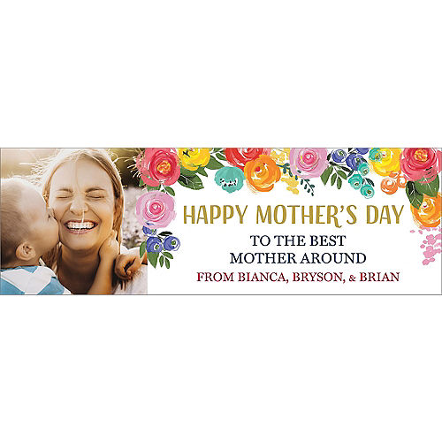 Custom Painted Floral Mother's Day Photo Horizontal Banner Image #1