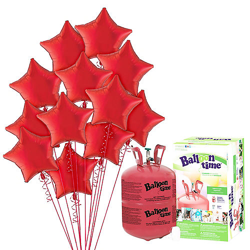Red Star Balloon Bouquet, 19in, 12pc, with Helium Tank Image #1