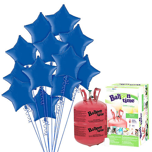 Blue Star Balloon Bouquet, 19in, 12pc, with Helium Tank Image #1
