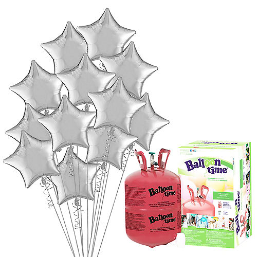 Silver Star Balloon Bouquet, 19in, 12pc, with Helium Tank Image #1