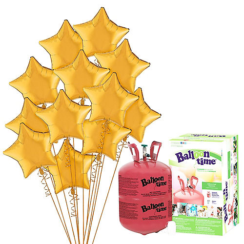 Gold Star Balloon Bouquet, 19in, 12pc, with Helium Tank Image #1