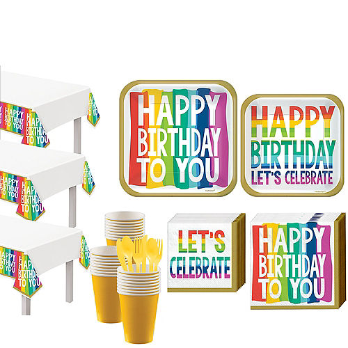 Rainbow Wishes Birthday Tableware Kit for 36 Guests Image #1