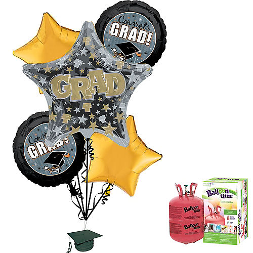 Honor the Grad Balloon Bouquet, 5pc, with Helium Tank Image #1