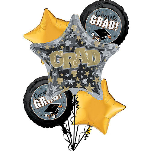 Nav Item for Honor the Grad Balloon Bouquet, 5pc, with Helium Tank Image #2