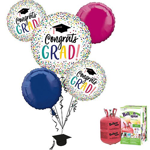 Yay Grad Balloon Bouquet, 5pc, with Helium Tank Image #1