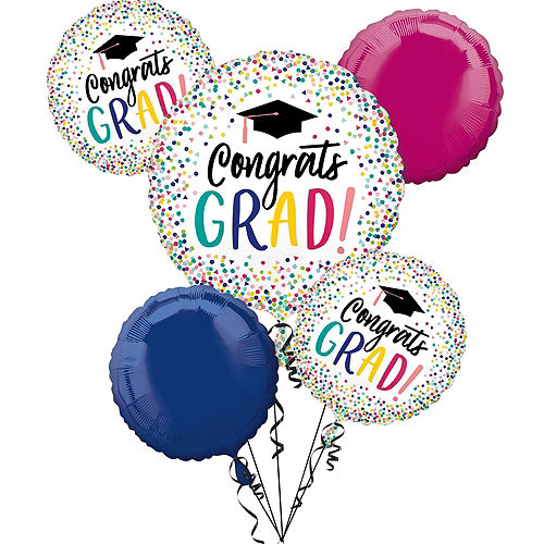 Yay Grad Balloon Bouquet, 5pc, with Helium Tank Image #3