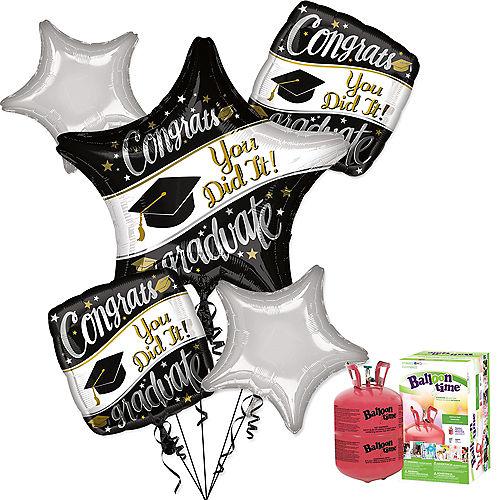 Black, White & Gold Congrats Graduate Balloon Bouquet, 5pc, with Helium Tank Image #1