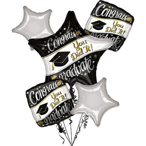 Black, White & Gold Congrats Graduate Balloon Bouquet, 5pc, with Helium Tank Image #3