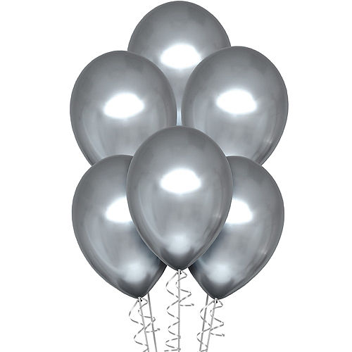 Platinum Silver Metallic Chrome Satin Luxe Latex Balloons, 11in, 6ct Image #1