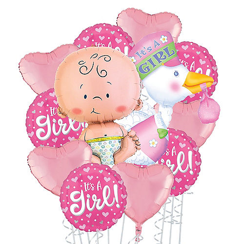 It's a Girl Stork Deluxe Balloon Bouquet, 12pc Image #1