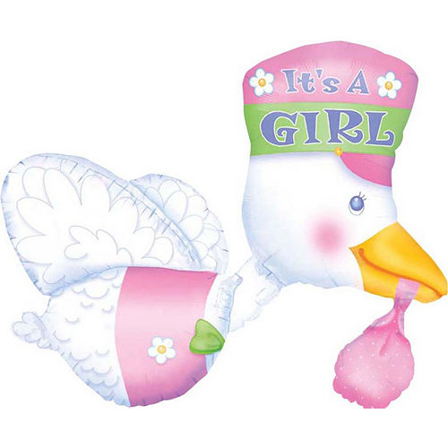 It's a Girl Stork Deluxe Balloon Bouquet, 12pc Image #4